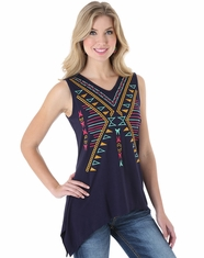 Wrangler Women's Sleeveless Embroidered Top - Navy