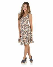 Wrangler Women's Sleeveless Print Dress - Tan