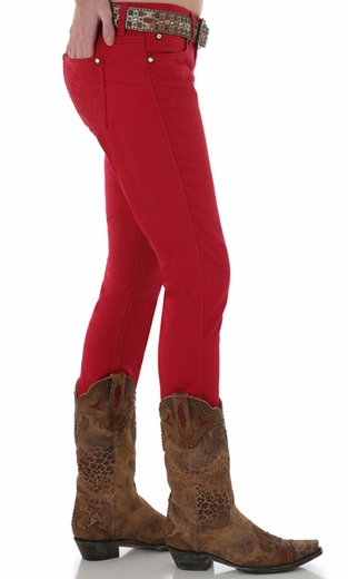 Wrangler Women's Ultra Low Rise Booty Up Skinny Jeans - Red (Closeout)