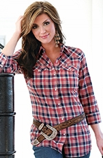 Wrangler Womens 3/4 Sleeve Western Plaid Snap Shirt - Navy/Red