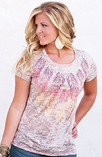 Wrangler Womens Feather Foil Print Top - Natural