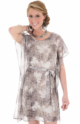 Wrangler Womens Floral Print Dress - Grey (Closeout)
