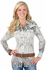 Wrangler Womens Long Sleeve Premium Snap Western Shirt - Brown Multi