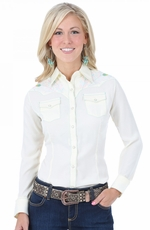 Wrangler Womens Long Sleeve Snap Western Shirt - Cream