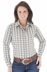 Wrangler Womens Long Sleeve Snap Western Shirt - Green/Pink