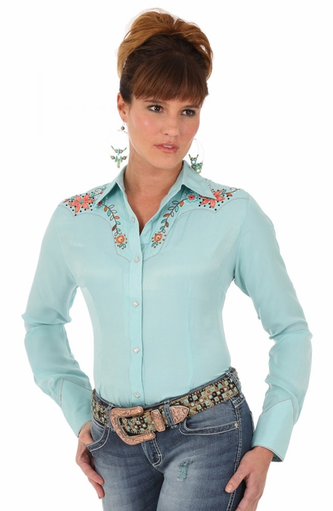 Wrangler Womens Long Sleeve Solid Snap Western Shirt with Embroidery - Turquoise (Closeout)