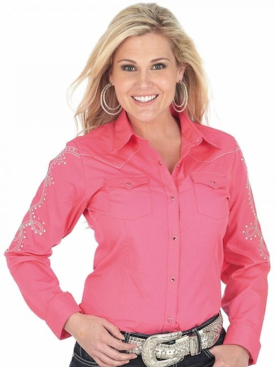 Wrangler Womens Long Sleeve Solid Western Snap Shirt - Pink (Closeout)