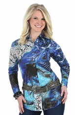 Wrangler Womens Long Sleeve Ultimate Riding Western Shirt - Blue/Silver (Closeout)