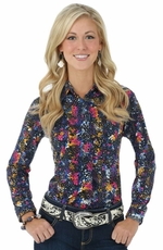 Wrangler Womens Long Sleeve Ultimate Riding Western Shirt Sleeve Shirt - Black Multi