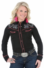 Wrangler Womens Long Sleeve Western Shirt with Embroidery - Black