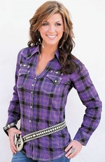 Wrangler Womens Rock 47 Plaid Western Snap Shirt - Purple
