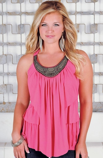 Wrangler Womens Rock 47 Ruffle Front Top - Pink