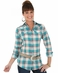 Wrangler Womens Long Sleeve Plaid Snap Western Shirt - Jade/Pink (Closeout)