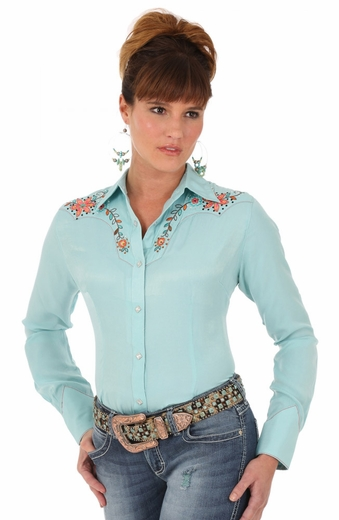Wrangler Womens Long Sleeve Solid Snap Western Shirt with Embroidery - Turquoise