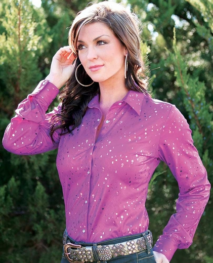 Wrangler Womens Western Performance Snap Shirt - Purple
