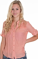 Ya Ya Womens Club Lazy Sunday Lace Top - Coral (Closeout)