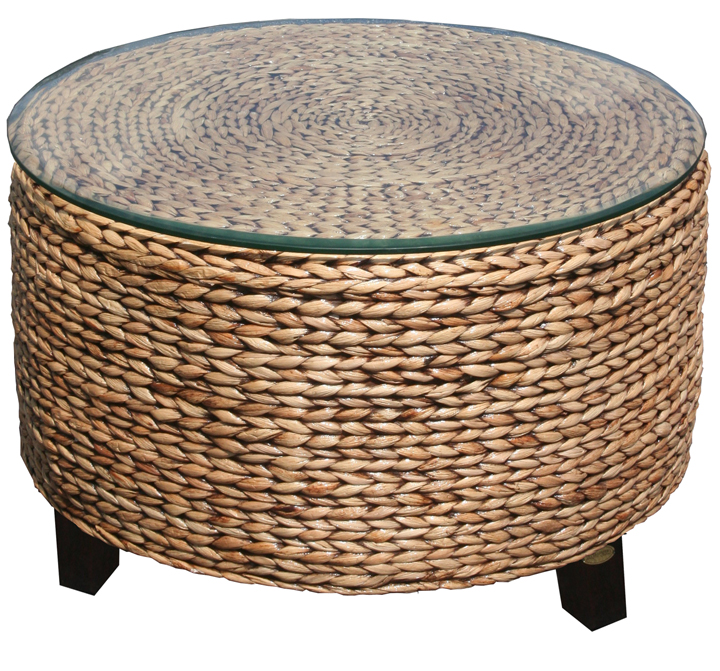 mahogany and woven coffee table in destin | foley | pensacola