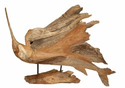 Free Standing Sailfish handcarved from Teak Root