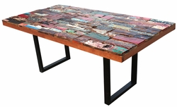 Rectangular Dining Table Made From Recycled Boats