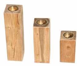 Recycled Teak Candleholder, set of 3