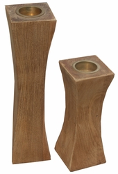 Slim Recycled Teak Candleholder, set of 2