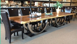 Stainless Dining Table Pedestal Double U