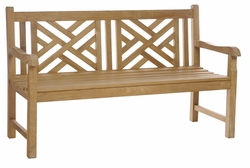Teak Chippendale Double Bench