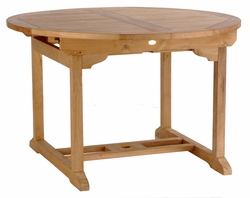 teak round elzas extension table made by chic teak chic teak furniture