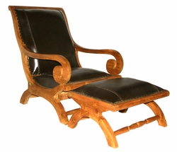 Waxed Teak And Leather Bahama Lazy Chair With Ottoman