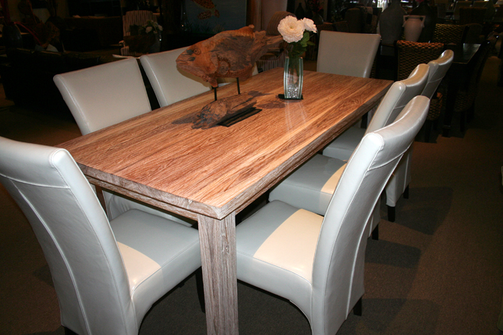 White Wash Rustic Teak Rectangular Dining Table In Destin Foley - White wash dining table