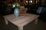 White Wash Teak Rustic Square Coffee Table made by Chic Teak