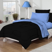 Dorm Bed & Bath Black/Blue 10pc Set for XL Twin College Beds