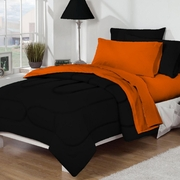 Dorm Room In A Box Black/Orange 10pc Set for XL Twin College Beds