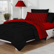 Dorm Room In A Box Black/Red 10pc Set for XL Twin College Beds