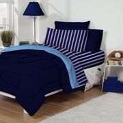 Dorm Bed & Bath Navy/Blue Stripe 10pc Set for XL Twin College Beds