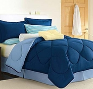 Dorm Room In A Box Navy/Light Blue  10pc Set for XL Twin College Beds
