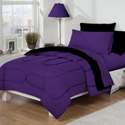 Dorm Room In A Box Purple/Black 10pc Set for XL Twin College Beds