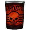 Harley Davidson Skull Wastebasket-Red Orange