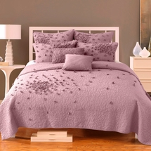 Petals Quilt by Nostalgia Home   White-Plum-Gray