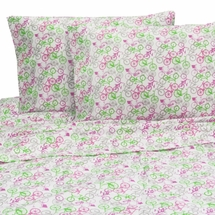 PINK BICYCLES Twin Sheet Set by Melanie & Max