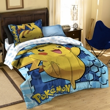 "Pokemon ""Big Pika"" Comforter/Sham Set  Twin/Full"