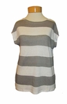 Eileen Fisher Bateau Organic Linen Jersey Rugby Stripe Bateau Neck Box-Top - White