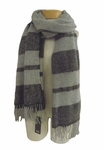 Eileen Fisher Boucle Striped Wool Scarf - Ash