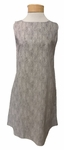 Eileen Fisher Chainette Printed Organic Cotton Bateau Neck Knee Length Dress - Natural