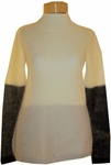 Eileen Fisher Color Blocked Mohair Bateau Neck Box Top - Black