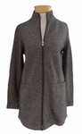 Eileen Fisher Cozy Hemp Organic Cotton Microstripe Stand Collar Long Jacket - SOLD OUT