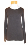Eileen Fisher Cozy Viscose Stretch Jersey Scoopneck Long Top - Charcoal