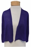 Eileen Fisher Fine Organic Linen Crepe Knit Cropped Cardigan - Sapphire