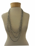 Eileen Fisher Crystal Beaded Silk Necklace - Silver