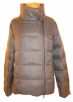 Eileen Fisher Eggshell Recycled Nylon Puffer Funnel Neck Zip Jacket - Ash  - SOLD OUT